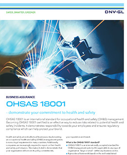 OHSAS 18001- certification by DNV GL